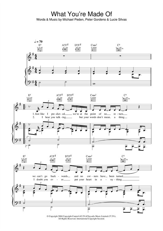 Lucie Silvas What You're Made Of sheet music notes and chords
