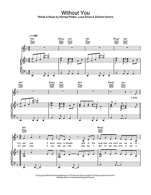 Lucie Silvas Without You sheet music notes and chords