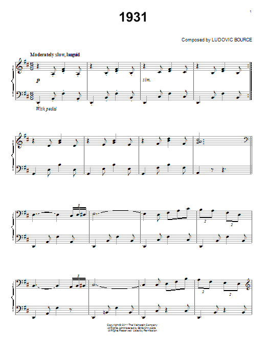 Download Ludovic Bource '1931' Digital Sheet Music Notes & Chords and start playing in minutes