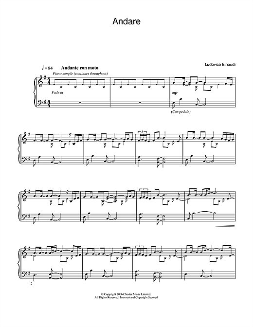 Download Ludovico Einaudi 'Andare' Digital Sheet Music Notes & Chords and start playing in minutes