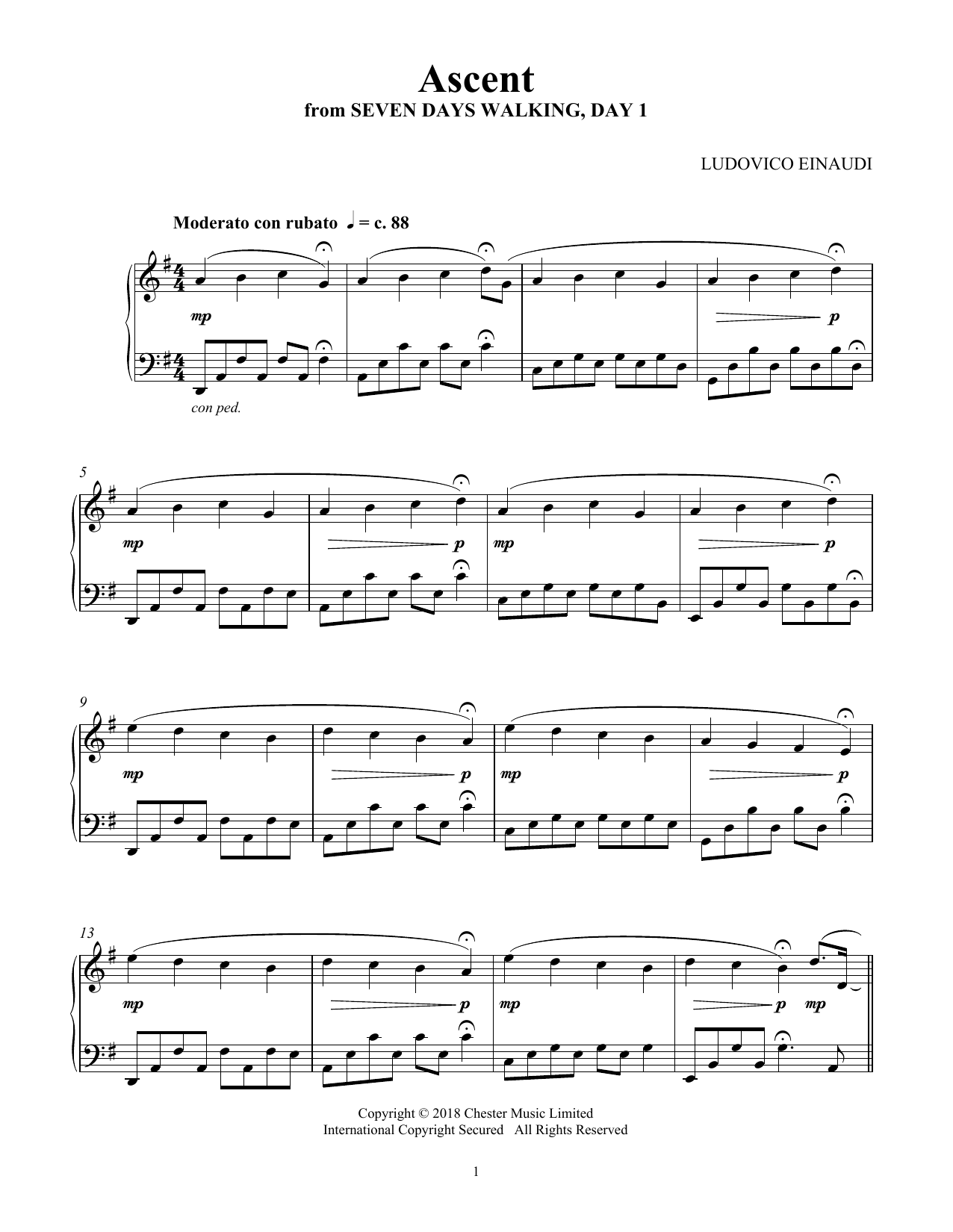 Download Ludovico Einaudi 'Ascent (from Seven Days Walking: Day 1)' Digital Sheet Music Notes & Chords and start playing in minutes