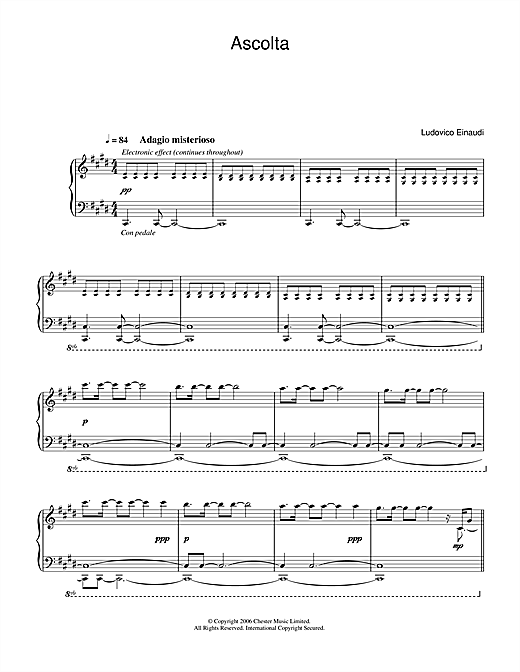 Download Ludovico Einaudi 'Ascolta' Digital Sheet Music Notes & Chords and start playing in minutes
