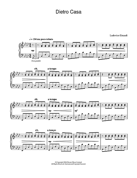 Download Ludovico Einaudi 'Dietro Casa' Digital Sheet Music Notes & Chords and start playing in minutes