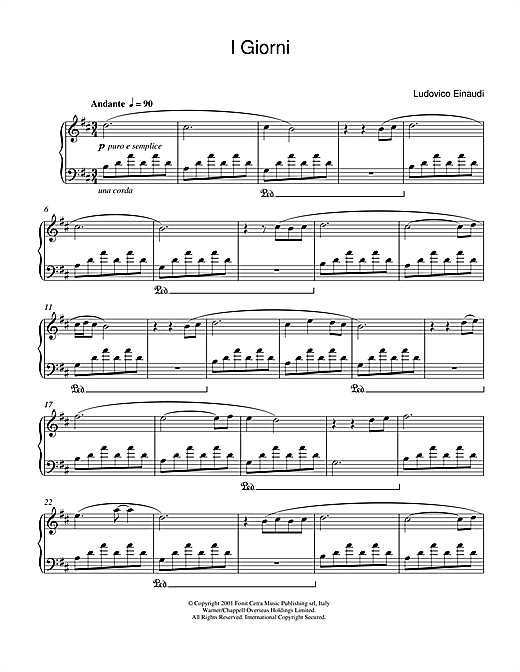 Download Ludovico Einaudi 'I Giorni' Digital Sheet Music Notes & Chords and start playing in minutes