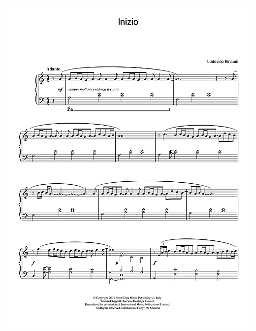 Download Ludovico Einaudi 'Inizio' Digital Sheet Music Notes & Chords and start playing in minutes