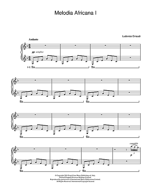 Download Ludovico Einaudi 'Melodia Africana I' Digital Sheet Music Notes & Chords and start playing in minutes