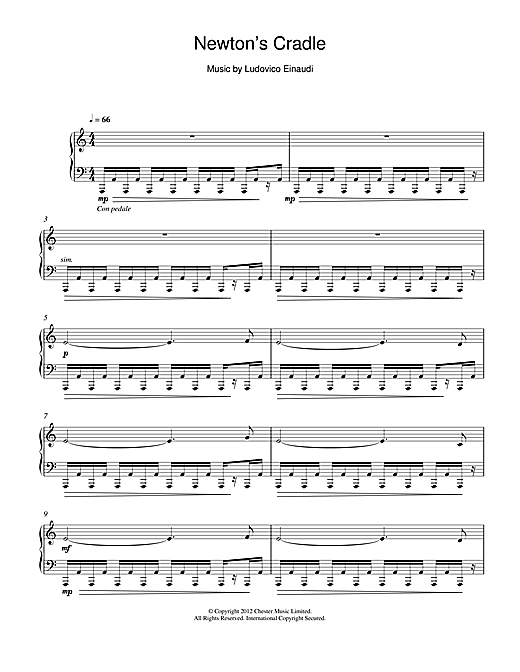 Download Ludovico Einaudi 'Newton's Cradle' Digital Sheet Music Notes & Chords and start playing in minutes