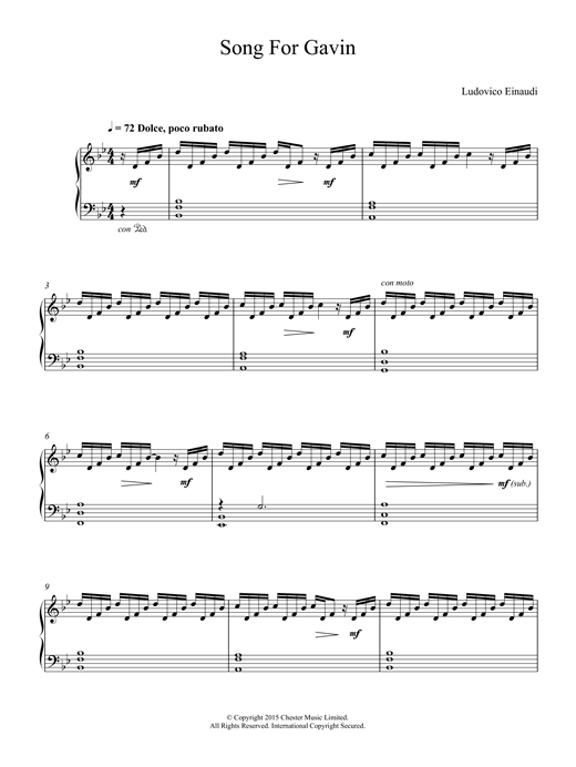 Download Ludovico Einaudi 'Song For Gavin' Digital Sheet Music Notes & Chords and start playing in minutes