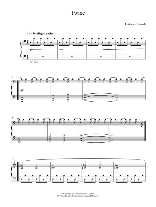 Download Ludovico Einaudi 'Twice' Digital Sheet Music Notes & Chords and start playing in minutes