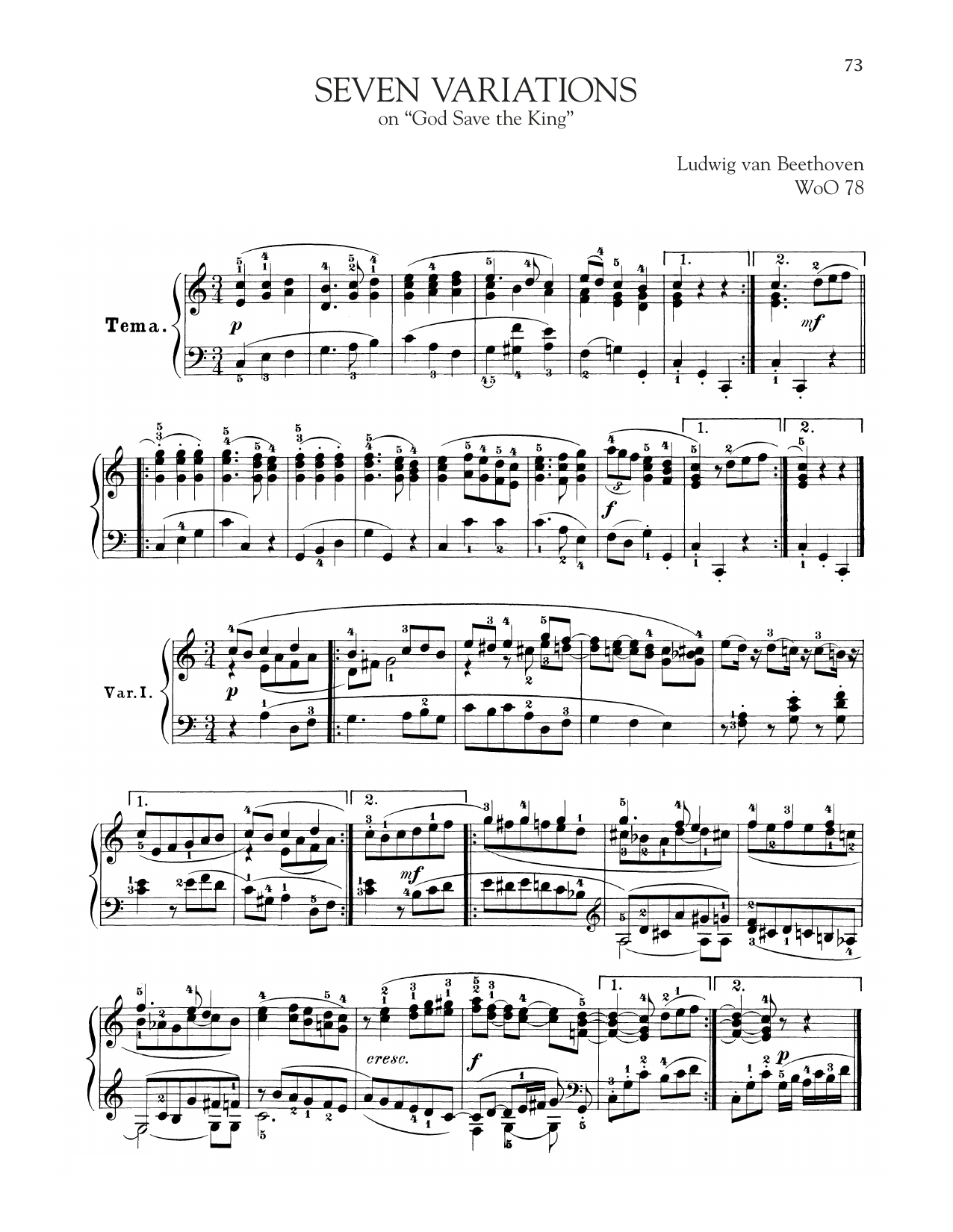 Download Ludwig van Beethoven '7 Variations On God Save The King, WoO 78' Digital Sheet Music Notes & Chords and start playing in minutes