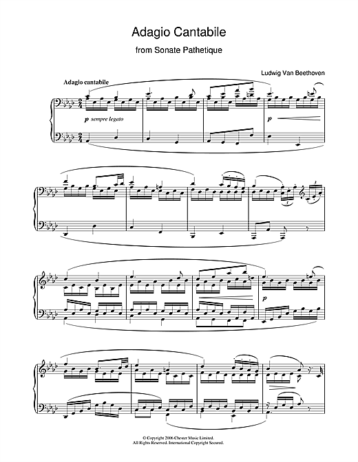 Download Ludwig van Beethoven 'Adagio Cantabile from Sonate Pathetique Op.13, Theme from the Second Movement' Digital Sheet Music Notes & Chords and start playing in minutes