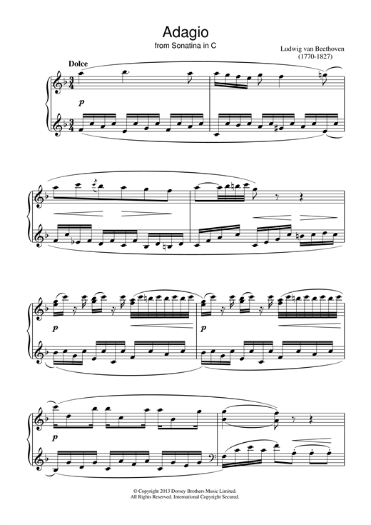 Ludwig van Beethoven Adagio Sonatina In C sheet music notes and chords