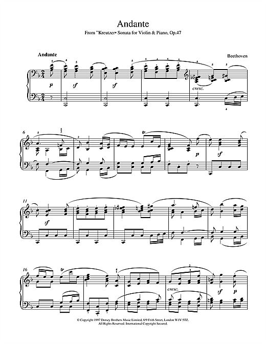 Download Ludwig van Beethoven 'Andante from Violin Sonata No. 9 (Kreutzer)' Digital Sheet Music Notes & Chords and start playing in minutes