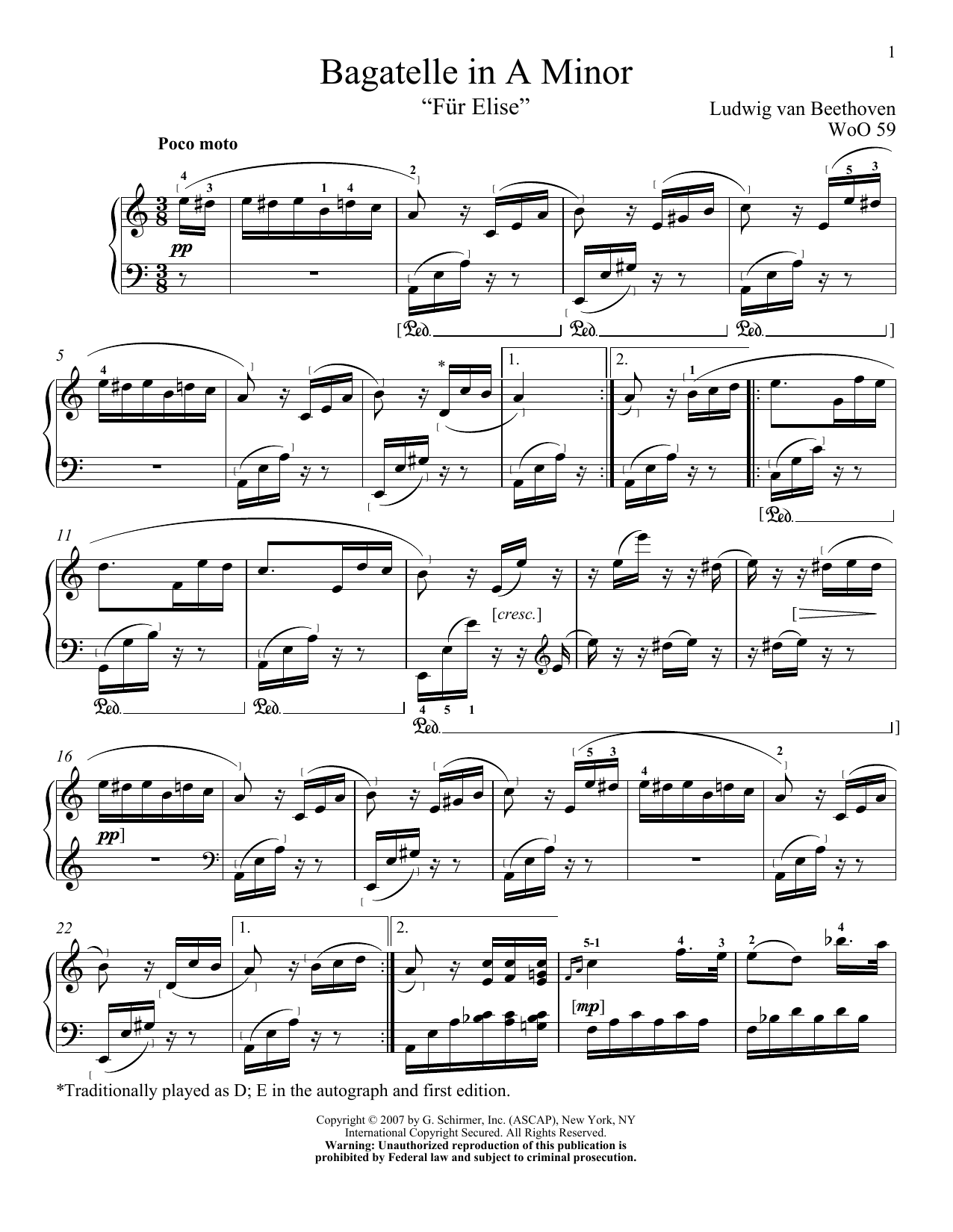 Download Ludwig van Beethoven 'Fur Elise' Digital Sheet Music Notes & Chords and start playing in minutes