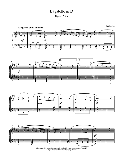 Download Ludwig van Beethoven 'Bagatelle In D Major, Op.33 No.6' Digital Sheet Music Notes & Chords and start playing in minutes