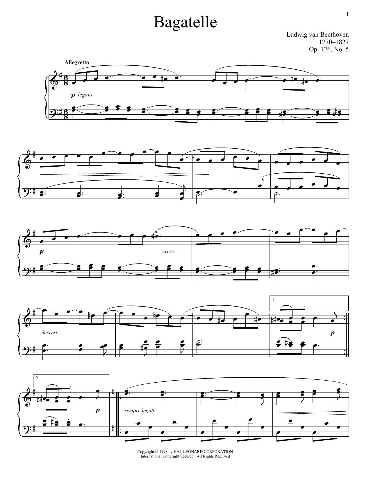 Download Ludwig van Beethoven 'Bagatelle in G, Op. 126, No. 5' Digital Sheet Music Notes & Chords and start playing in minutes