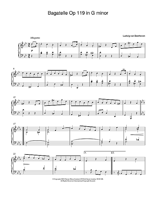 Ludwig van Beethoven Bagatelle In G Minor, Op. 119, No. 1 sheet music notes and chords