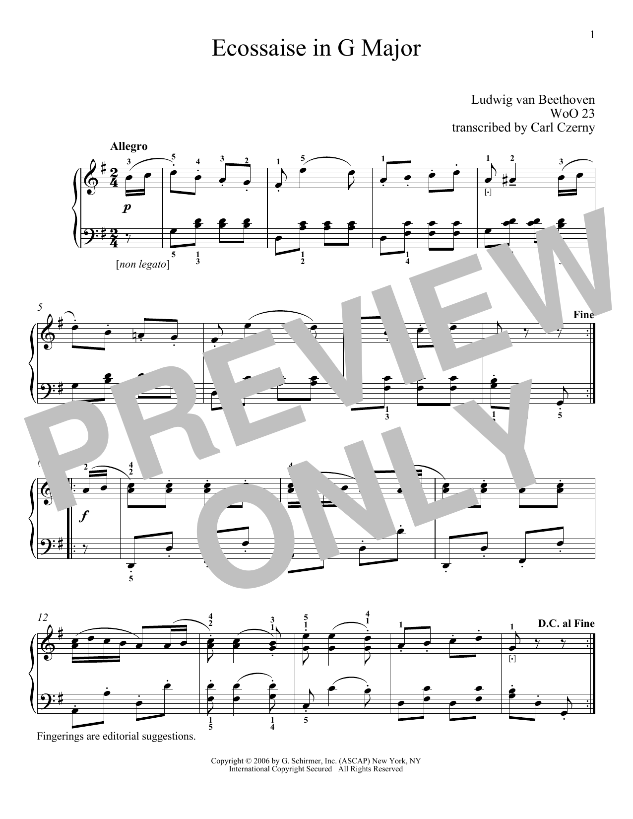 Download Ludwig van Beethoven 'Ecossaise In G Major, WoO 23' Digital Sheet Music Notes & Chords and start playing in minutes