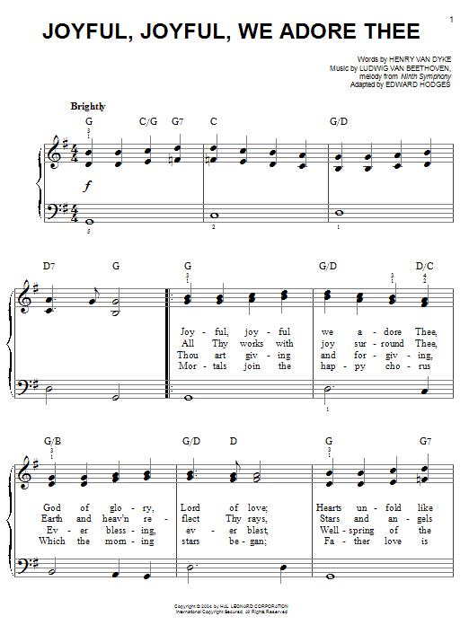 Ludwig van Beethoven Joyful, Joyful, We Adore Thee sheet music notes and chords