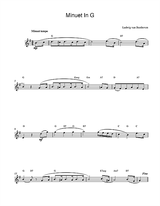 Download Ludwig van Beethoven 'Minuet In G' Digital Sheet Music Notes & Chords and start playing in minutes
