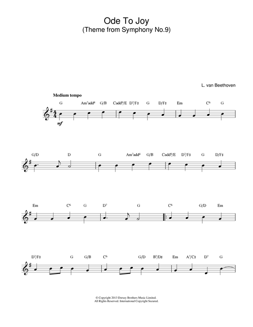 Ludwig van Beethoven Ode To Joy from Symphony No. 9, Fourth Movement sheet music notes and chords