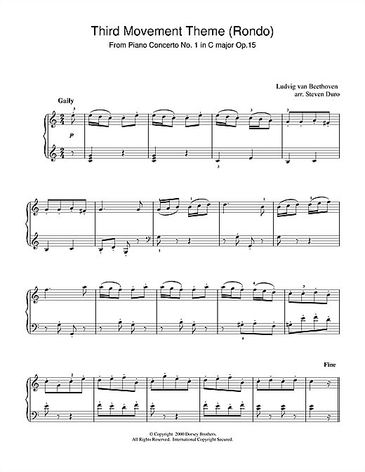Ludwig van Beethoven Piano Concerto No.1 in C Major Op.15, Rondo sheet music notes and chords