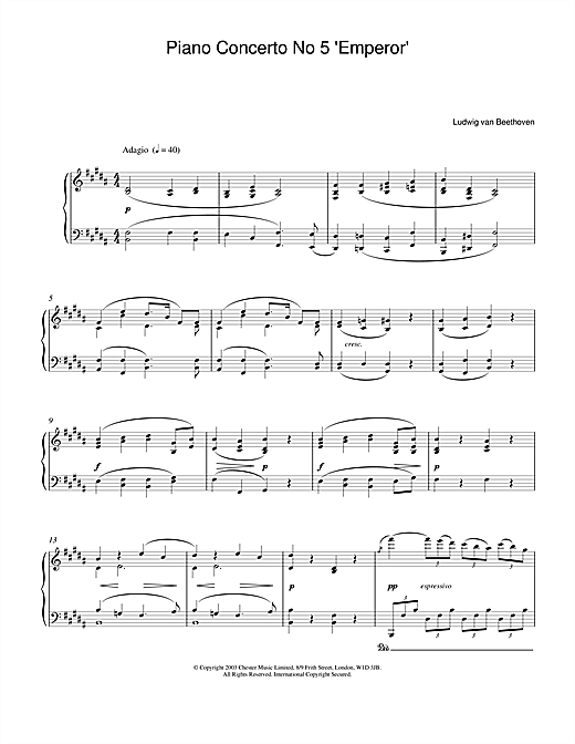 Download Ludwig van Beethoven 'Piano Concerto No.5 (Emperor), E Flat Major, Op.73, Theme from the 2nd Movement' Digital Sheet Music Notes & Chords and start playing in minutes