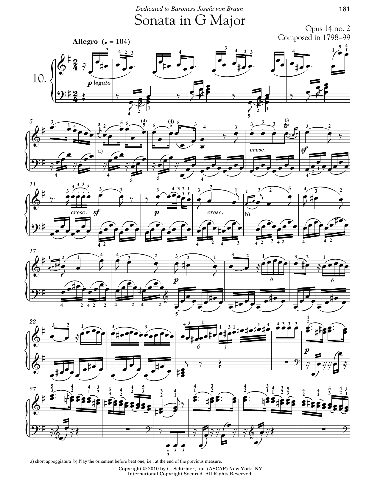 Download Ludwig van Beethoven 'Piano Sonata No. 10 In G Major, Op. 14, No. 2' Digital Sheet Music Notes & Chords and start playing in minutes