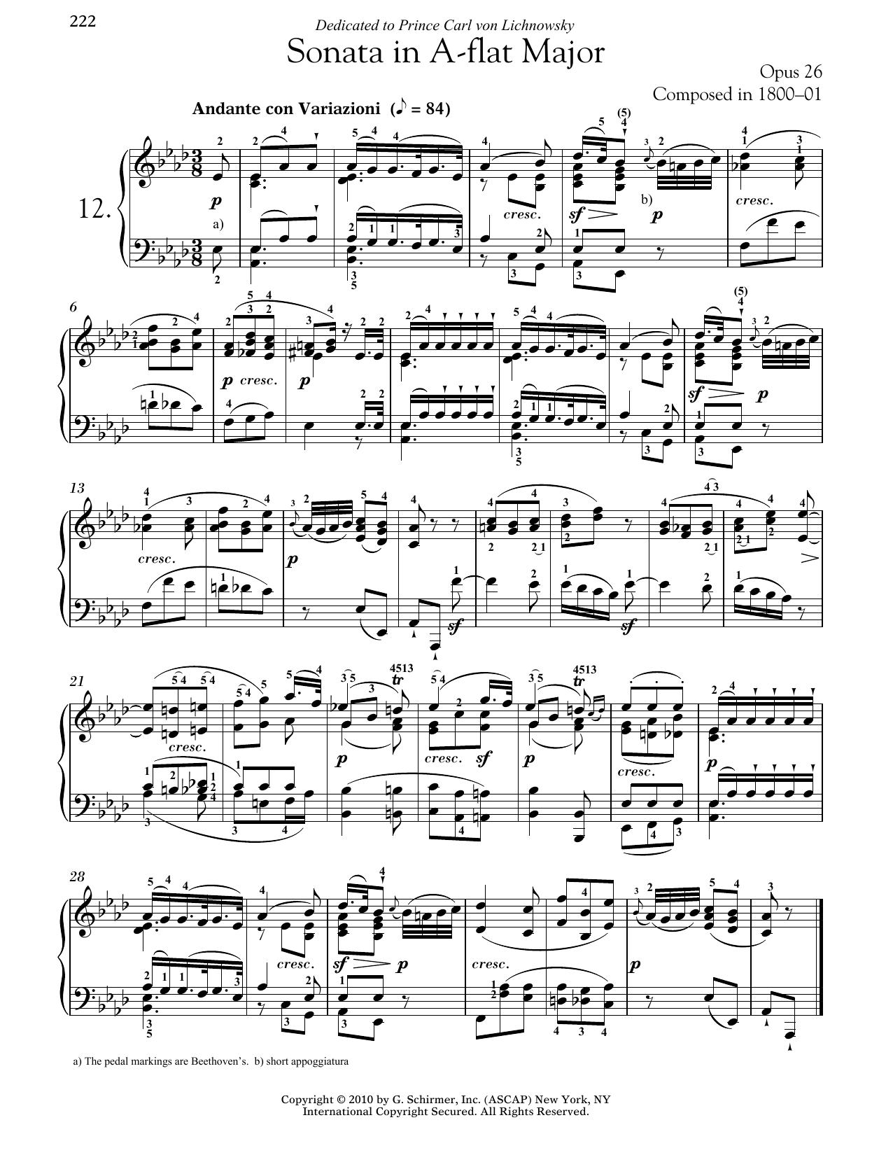 Download Ludwig van Beethoven 'Piano Sonata No. 12 In A-flat Major, Op. 26' Digital Sheet Music Notes & Chords and start playing in minutes
