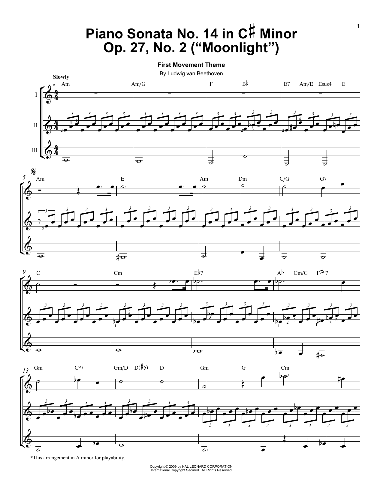 Download Ludwig van Beethoven 'Piano Sonata No. 14 In C# Minor (Moonlight) Op. 27 No. 2 First Movement Theme' Digital Sheet Music Notes & Chords and start playing in minutes