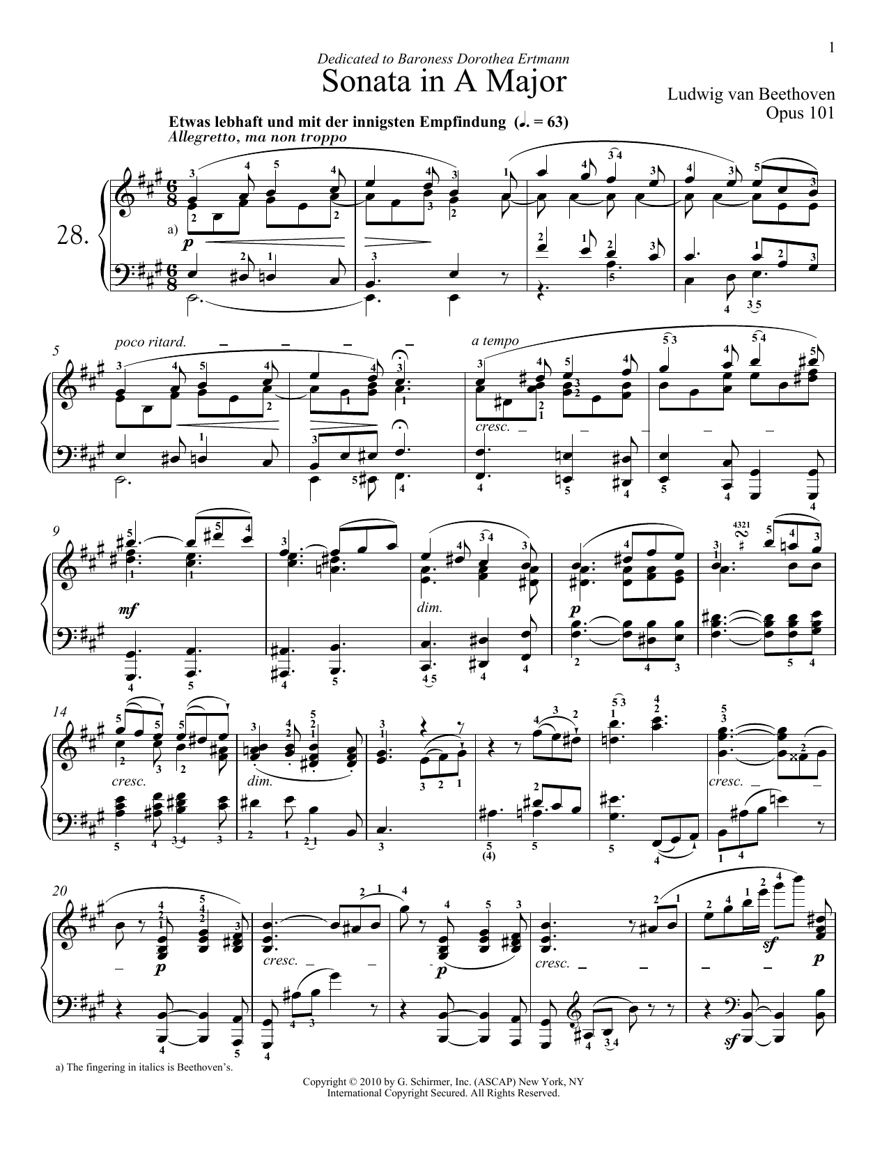 Download Ludwig van Beethoven 'Piano Sonata No. 28 In A Major, Op. 101' Digital Sheet Music Notes & Chords and start playing in minutes