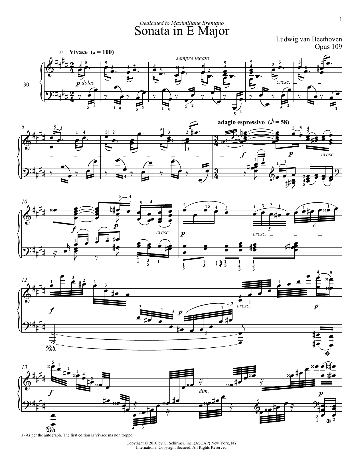 Download Ludwig van Beethoven 'Piano Sonata No. 30 In E Major, Op. 109' Digital Sheet Music Notes & Chords and start playing in minutes