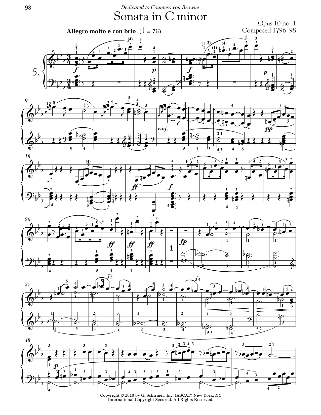 Download Ludwig van Beethoven 'Piano Sonata No. 5 In C Minor, Op. 10, No. 1' Digital Sheet Music Notes & Chords and start playing in minutes