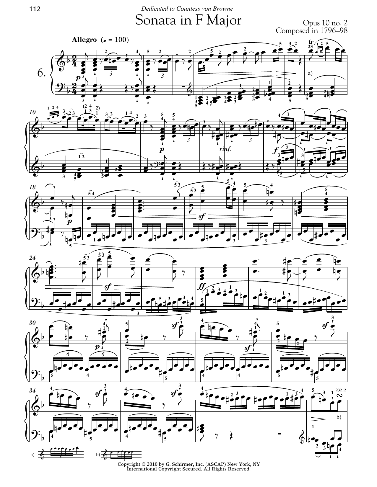 Download Ludwig van Beethoven 'Piano Sonata No. 6 In F Major, Op. 10, No. 2' Digital Sheet Music Notes & Chords and start playing in minutes