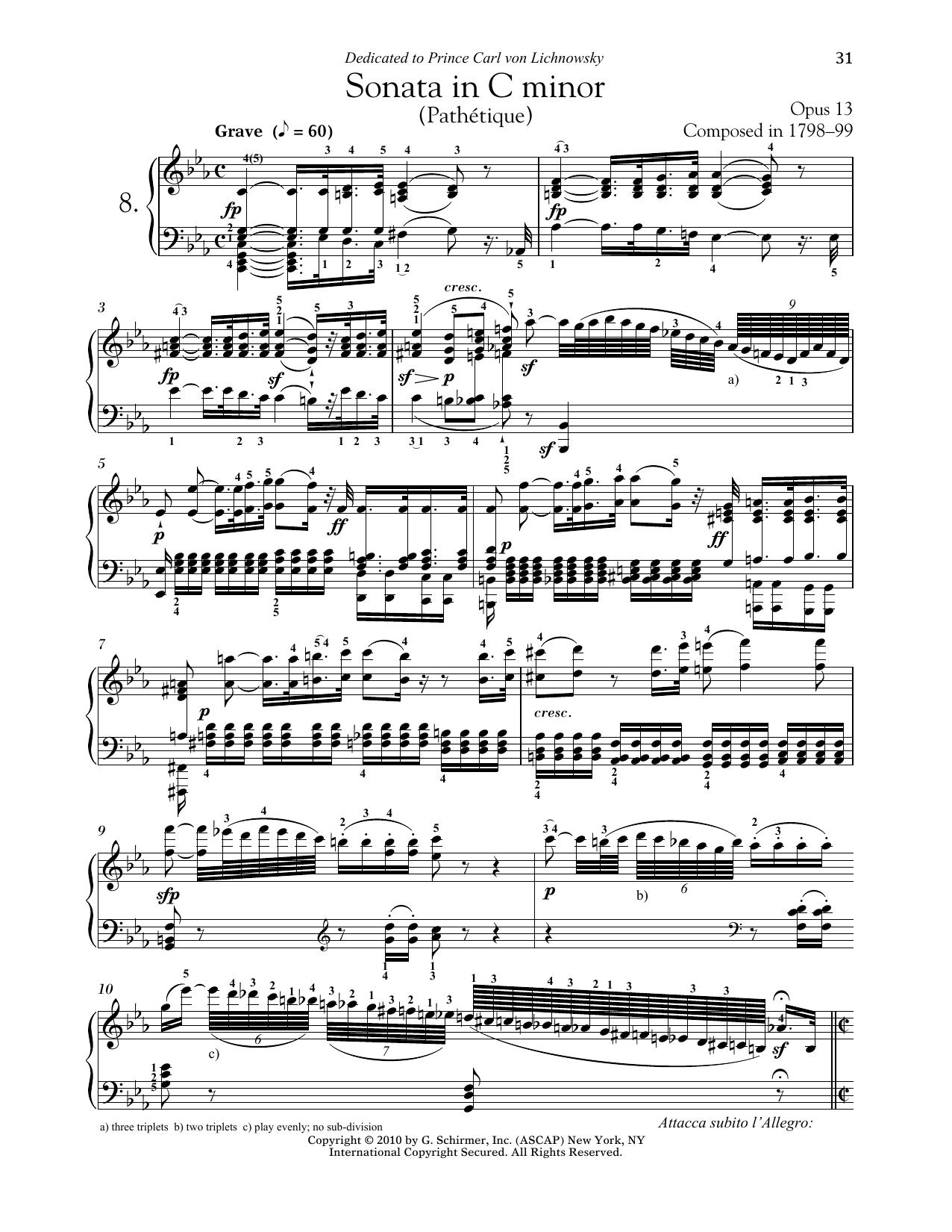 Download Ludwig van Beethoven 'Piano Sonata No. 8 In C Minor, Op. 13