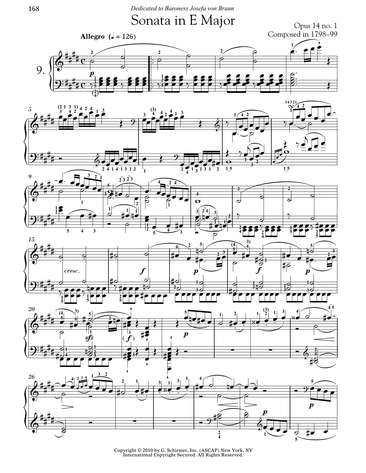 Download Ludwig van Beethoven 'Piano Sonata No. 9 In E Major, Op. 14, No. 1' Digital Sheet Music Notes & Chords and start playing in minutes