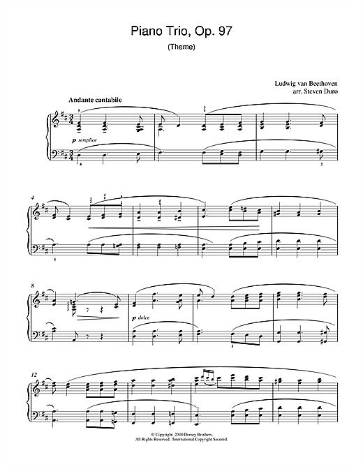 Ludwig van Beethoven Piano Trio Opus 97 sheet music notes and chords