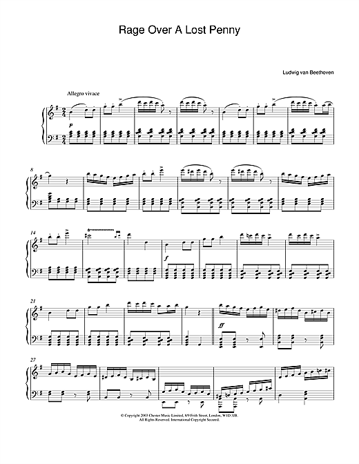 Download Ludwig van Beethoven 'Rondo A Capriccio (Rage Over A Lost Penny), Theme from Op.129' Digital Sheet Music Notes & Chords and start playing in minutes