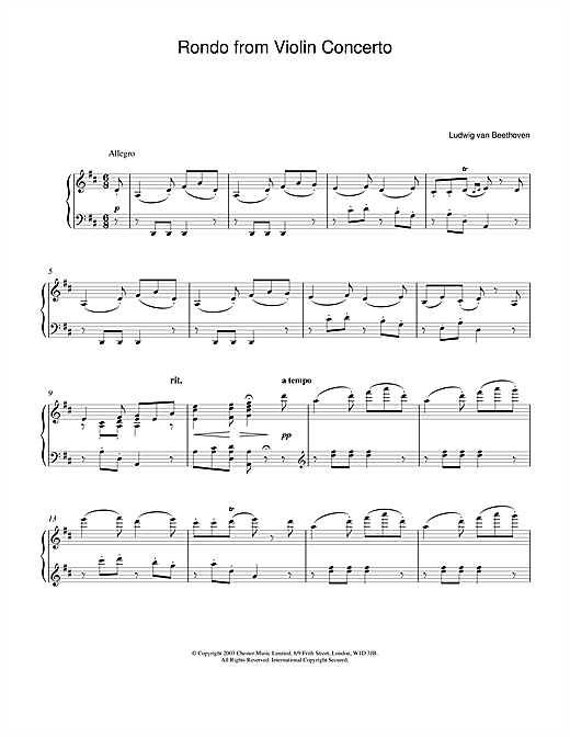 Download Ludwig van Beethoven 'Rondo From Violin Concerto In D Major Op. 62' Digital Sheet Music Notes & Chords and start playing in minutes
