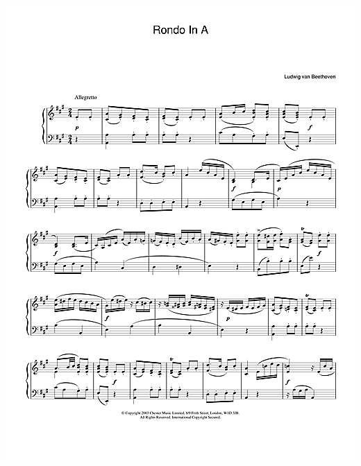 Ludwig van Beethoven Rondo In A sheet music notes and chords