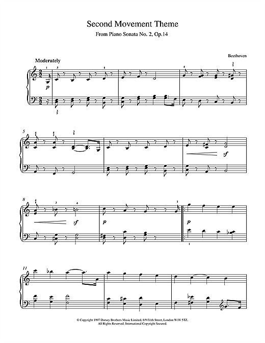 Download Ludwig van Beethoven 'Slow Movement Piano Sonata Op.2 No.14' Digital Sheet Music Notes & Chords and start playing in minutes