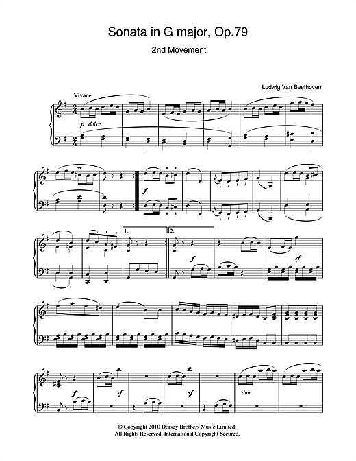 Download Ludwig van Beethoven 'Sonata In G Major Op. 79 2nd Movement' Digital Sheet Music Notes & Chords and start playing in minutes