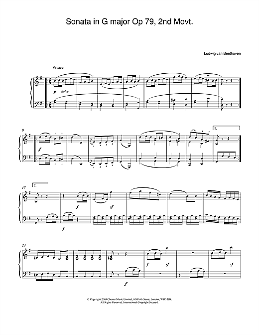 Download Ludwig van Beethoven 'Sonata in G major Op. 79, 2nd Movement' Digital Sheet Music Notes & Chords and start playing in minutes