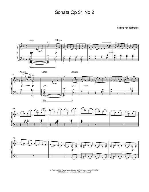 Ludwig van Beethoven Sonata Op.31 No.2 sheet music notes and chords