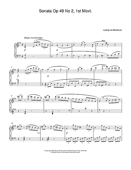 Download Ludwig van Beethoven 'Sonata Op. 49 No. 2, 1st Movement' Digital Sheet Music Notes & Chords and start playing in minutes
