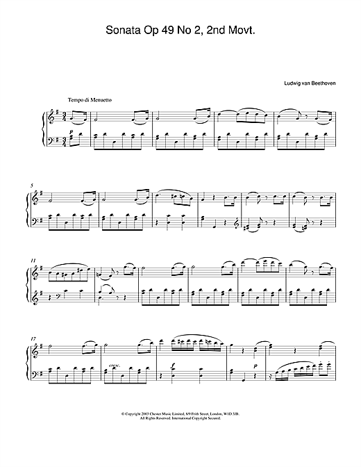 Download Ludwig van Beethoven 'Sonata Op. 49 No. 2, 2nd Movement' Digital Sheet Music Notes & Chords and start playing in minutes