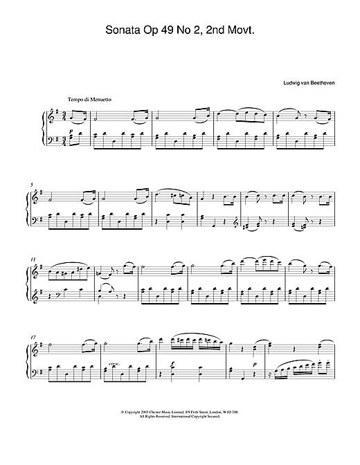 Ludwig van Beethoven Sonata Op. 49 No. 2, 2nd Movement sheet music notes and chords