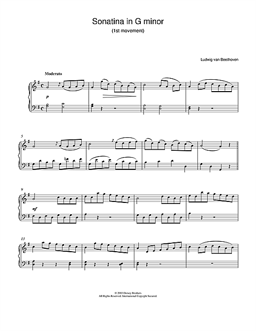 Ludwig van Beethoven Sonatina In G 1st Movement sheet music notes and chords