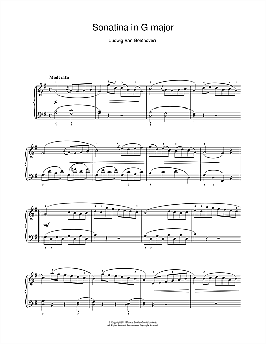 Download Ludwig van Beethoven 'Sonatina In G Major (First Movement)' Digital Sheet Music Notes & Chords and start playing in minutes