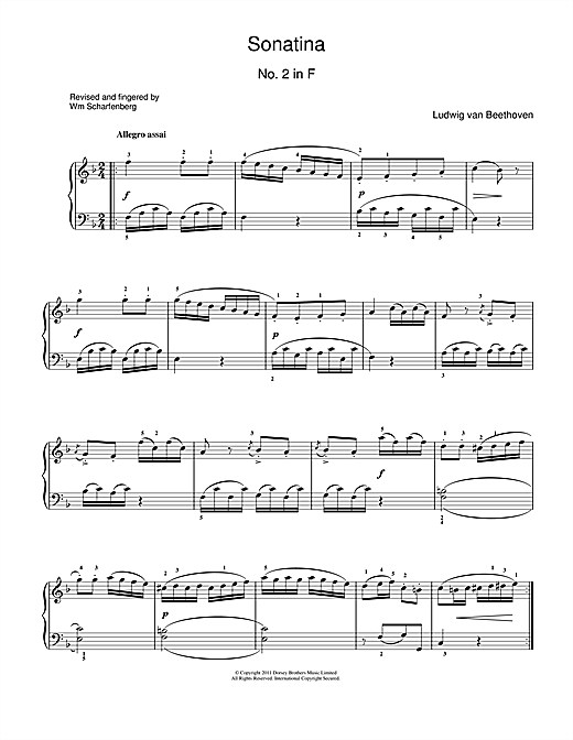 Download Ludwig van Beethoven 'Sonatina No.2 In F Major' Digital Sheet Music Notes & Chords and start playing in minutes